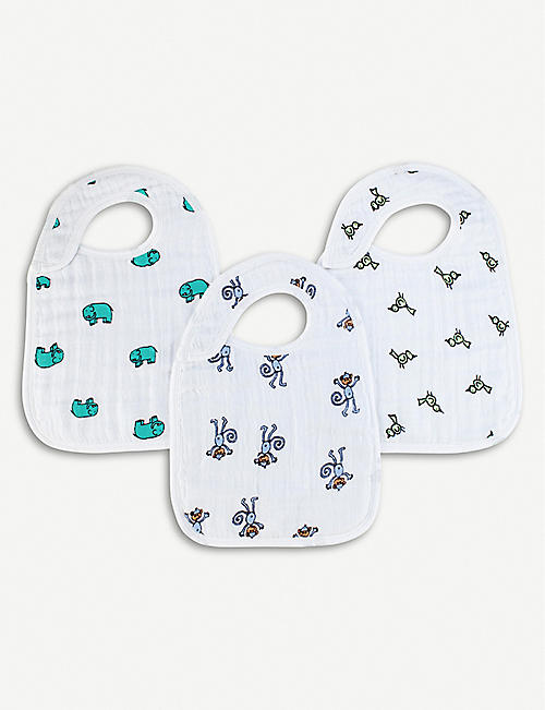 ADEN + ANAIS Set of three jungle jam snap bibs