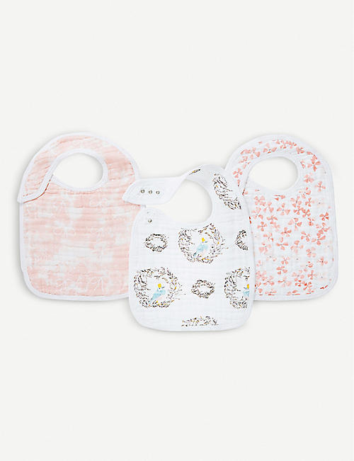 ADEN + ANAIS Set of three Birdsong snap bibs