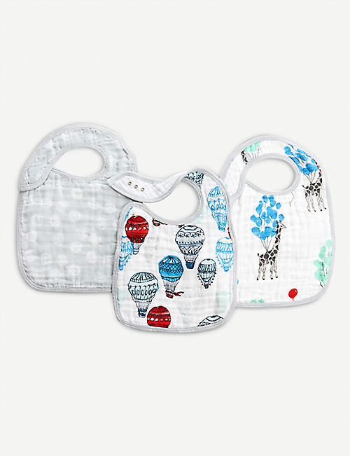 ADEN + ANAIS Set of three Dream Ride snap bibs