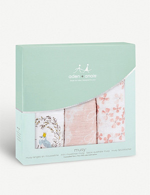 ADEN + ANAIS Set of three Birdsong muslin squares