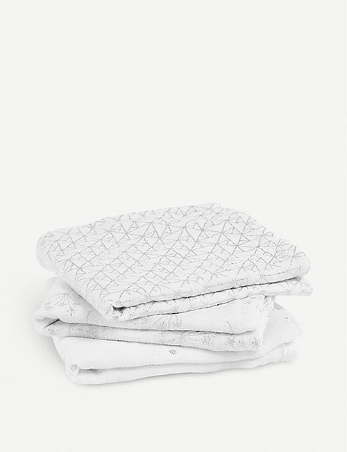 ADEN + ANAIS Set of three Silver Deco muslin squares