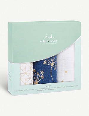 ADEN + ANAIS Set of three Gold Deco muslin squares