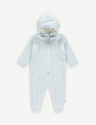 THE LITTLE TAILOR: Cable knit cotton baby grow 0-9 months