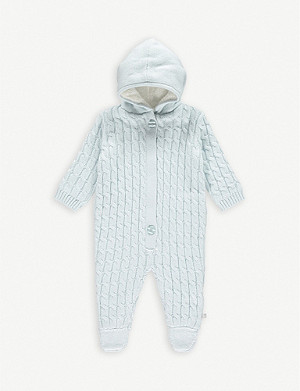 THE LITTLE TAILOR Cable knit cotton baby grow 0-9 months