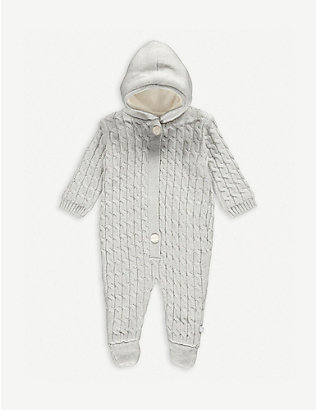 THE LITTLE TAILOR: Cable knit cotton babygrow 0-9 months