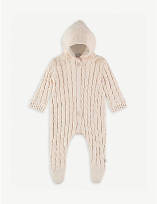 THE LITTLE TAILOR: Cable-knit cotton all-in-one 0-9 months