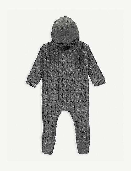 THE LITTLE TAILOR Cable-knit cotton and cashmere-blend all-in-one 0-9 months