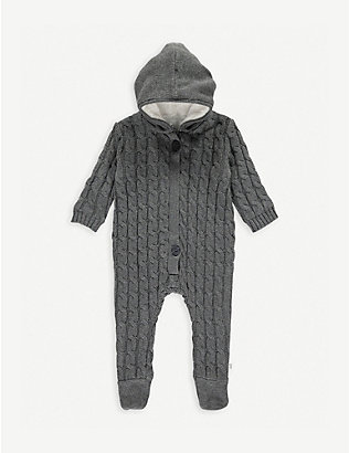 THE LITTLE TAILOR: Cable-knit cotton and cashmere-blend all-in-one 0-9 months