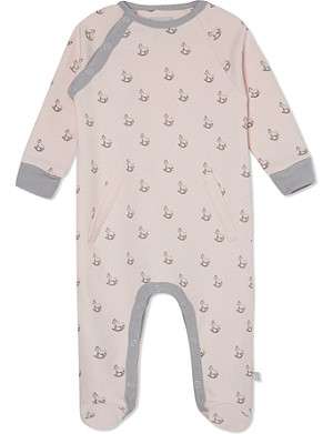 THE LITTLE TAILOR Rocking horse-print jersey babygrow 0-9 months