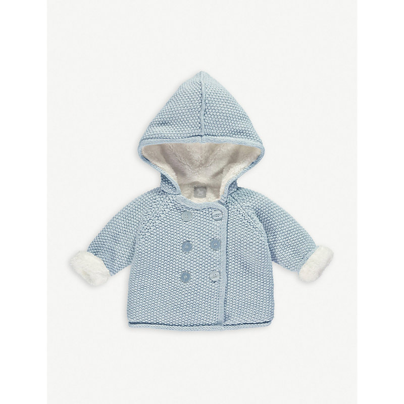 THE LITTLE TAILOR | The Little Tailor Knitted Cotton Pixie Jacket 0-12 Months, Size: 6-9 Months, Blue | Goxip