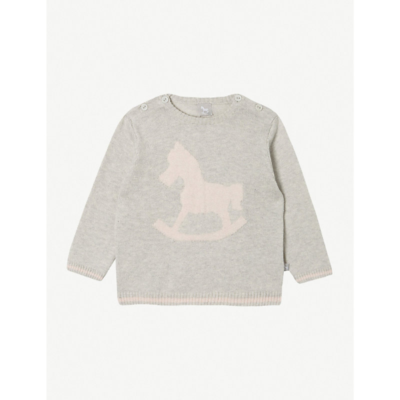 THE LITTLE TAILOR | The Little Tailor Rocking Horse Cotton Jumper 0-12 Months, Size: 6-9 Months, Soft Grey | Goxip