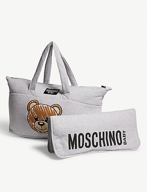 573f999b79e77 MOSCHINO Logo cotton-blend baby changing bag and blanket · Quick Shop