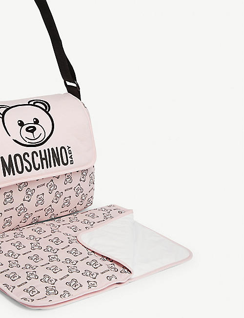 MOSCHINO Teddy print cotton baby changing bag