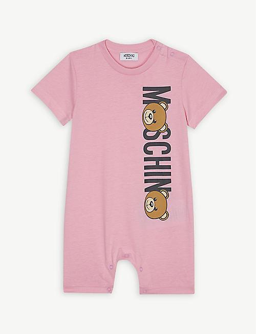 ee1eaa7a362e MOSCHINO Bear logo cotton romper 1-9 months