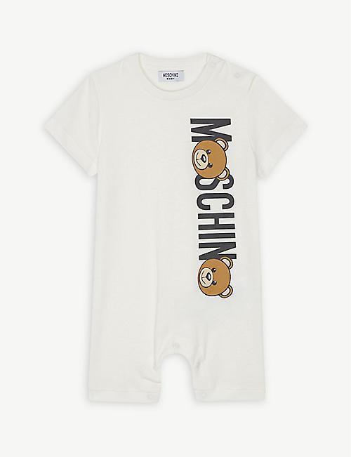 5f76ee34161 MOSCHINO Bear logo cotton romper 1-9 months