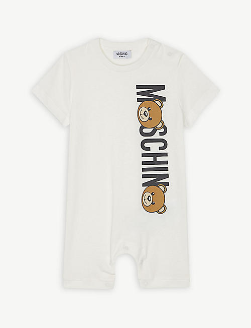 c5983f6dba3 MOSCHINO Bear logo cotton romper 1-9 months