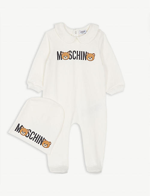 b5728dc71d4ce MOSCHINO Logo cotton-blend bodysuit and beanie gift set 1-9 months