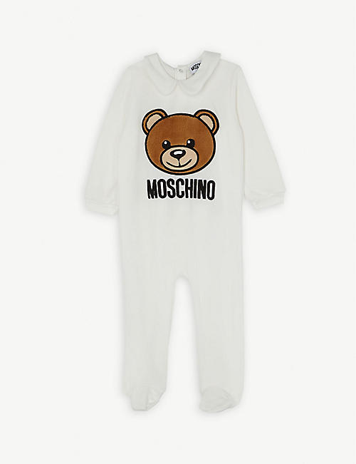 MOSCHINO Embroidered teddy velvet sleepsuit 0-12 months