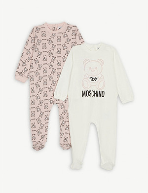 MOSCHINO Logo print set of two cotton babygrows 1-12 months