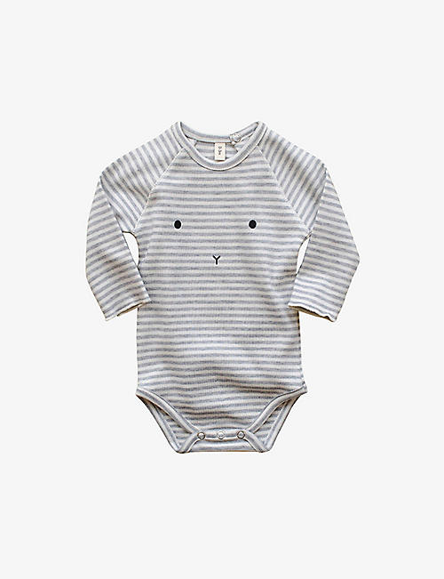 ORGANIC ZOO Sleepy Face striped bodysuit 3-12 months