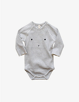 ORGANIC ZOO: Sleepy Face striped bodysuit 3-12 months