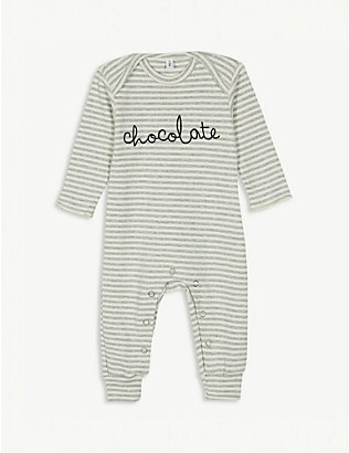 ORGANIC ZOO: Chocolate striped organic-cotton babygrow 0-12 months