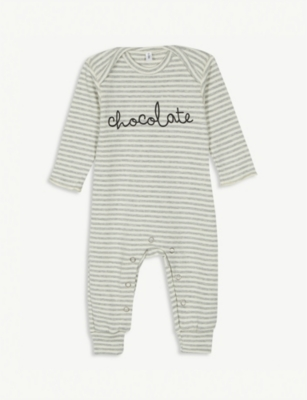 ORGANIC ZOO Chocolate striped cotton babygrow 0-12 months