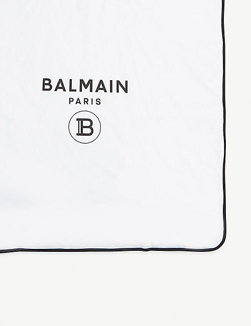 BALMAIN Cotton logo-print blanket