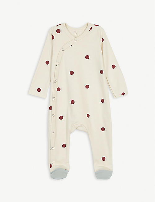 ORGANIC ZOO Polka dot organic cotton sleepsuit 0-12 months