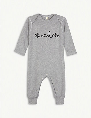 ORGANIC ZOO: Chocolate cotton babygrow 3-12 months