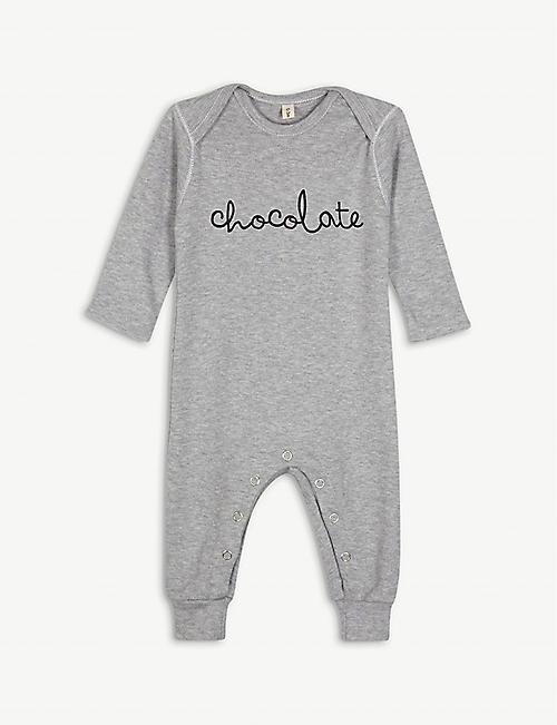 ORGANIC ZOO Chocolate cotton babygrow 3-12 months