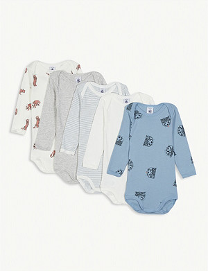 PETIT BATEAU Woodland print cotton bodysuits set of five 3-36 months