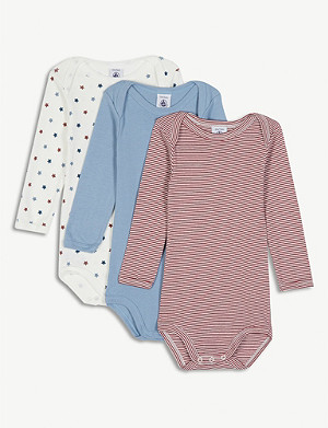 PETIT BATEAU Cotton babygrow set of three 3-36 months