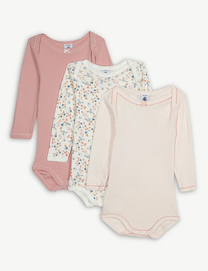 PETIT BATEAU Frilled cotton bodysuits set of three 3-36 months