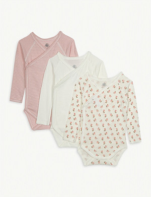 PETIT BATEAU Cotton babygrow set of three 0-12 months