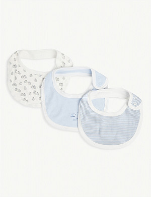 PETIT BATEAU Striped cotton bibs set of three