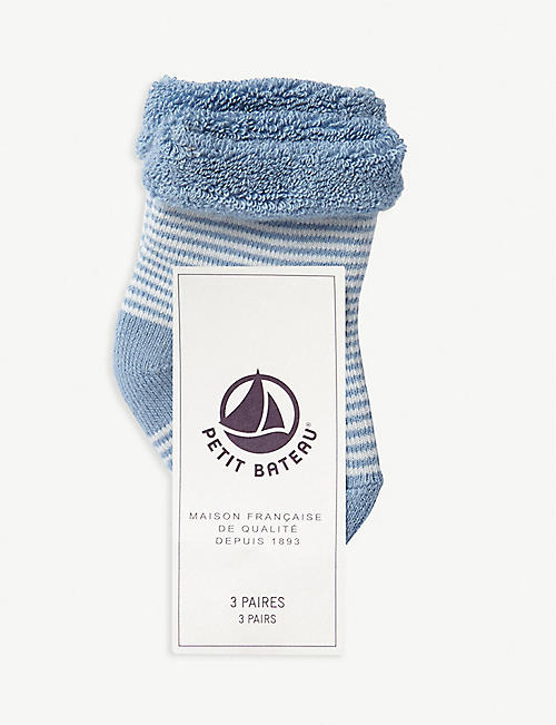 PETIT BATEAU Printed cotton socks pack of three