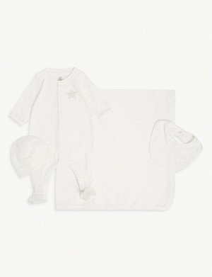 PETIT BATEAU Baby cotton gift set of four 0-6 months
