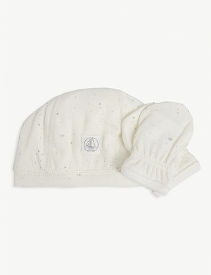 PETIT BATEAU Metallic dot baby cotton hat and mittens set