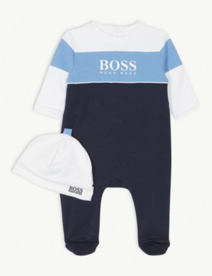 BOSS Logo cotton bodysuit and hat gift set 1-12 months