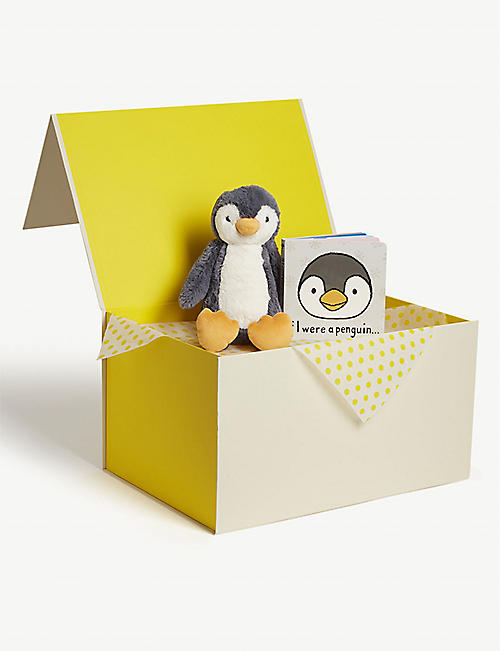 JELLYCAT Bashful Penguin soft toy and book hamper