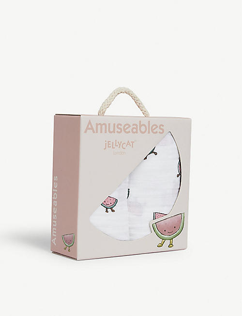 JELLYCAT Amuseables watermelon print cotton muslins set of two