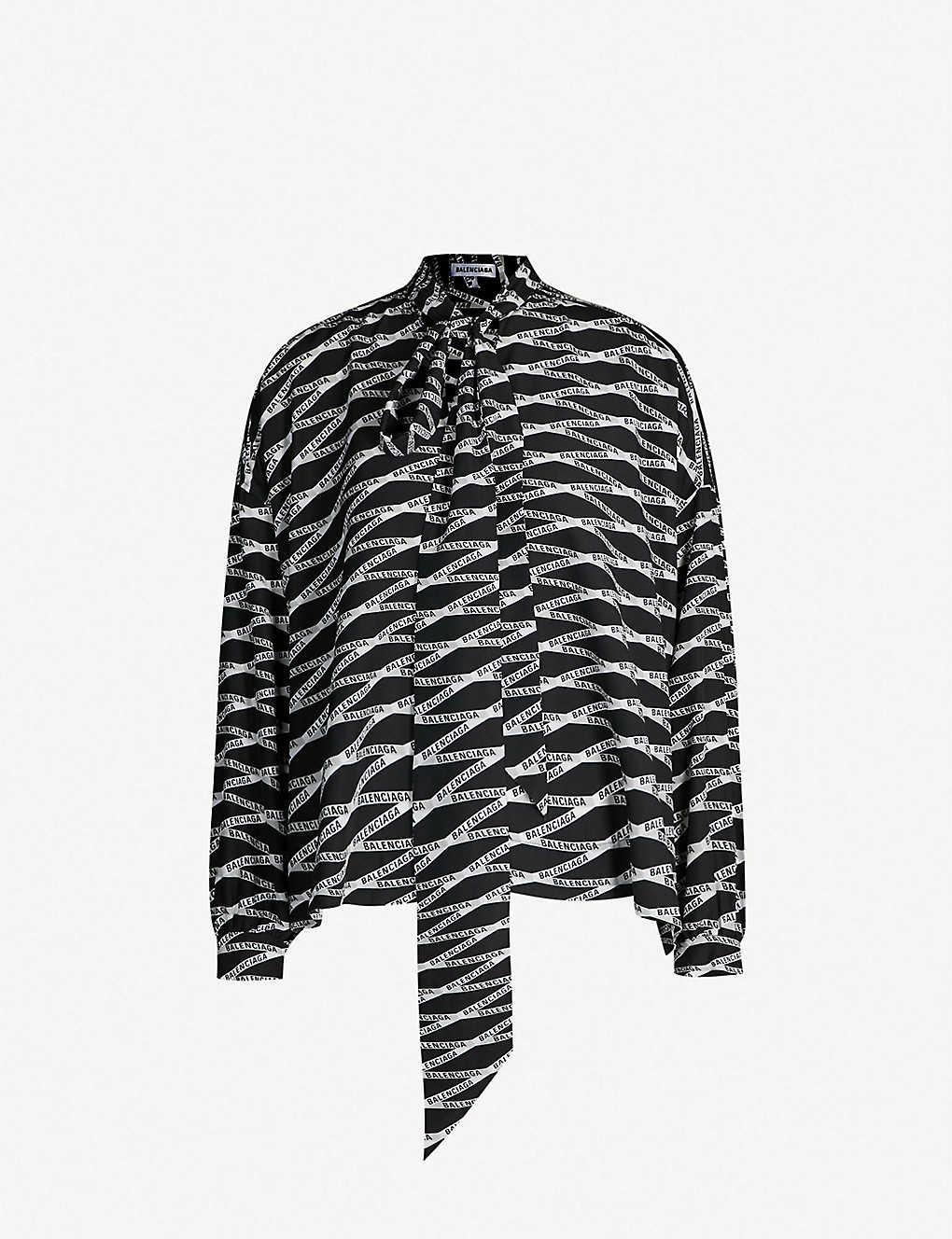 f9d67f99a5ddd1 BALENCIAGA - Zigzag logo-print silk shirt   Selfridges.com