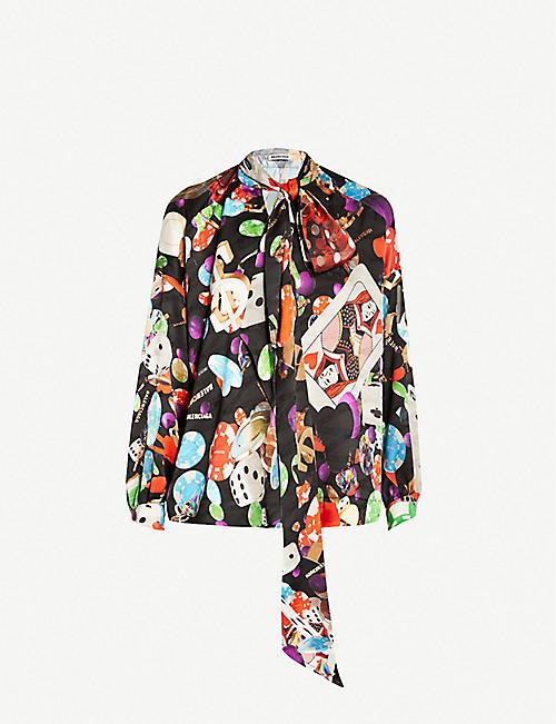 1c6a86774 BALENCIAGA Games-print silk-satin shirt