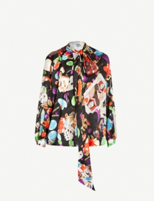 BALENCIAGA Games-print silk-satin shirt