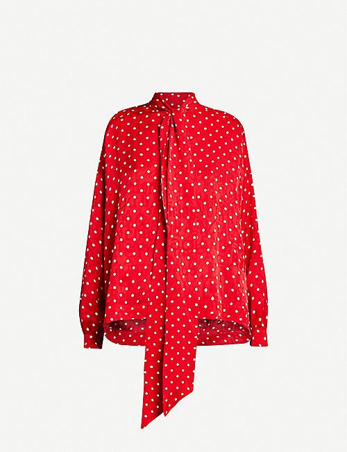 BALENCIAGA Tied-neck polka dot crepe shirt