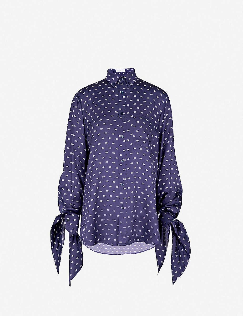 31b047f333e4b1 BALENCIAGA - Logo-print silk-satin shirt   Selfridges.com