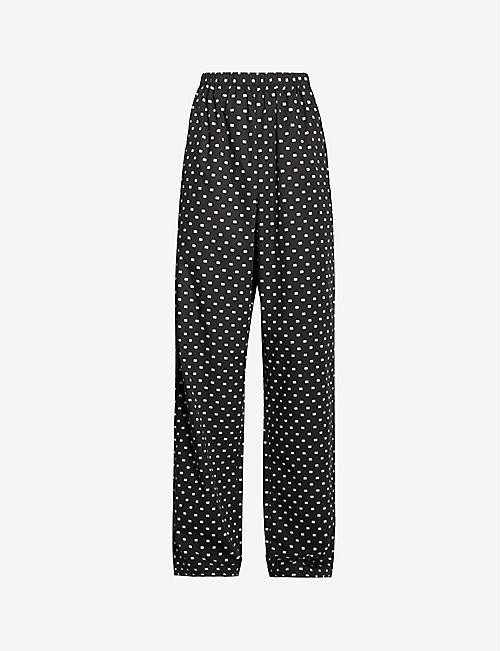416891052fc2b BALENCIAGA BB logo-print wide-leg cotton trousers