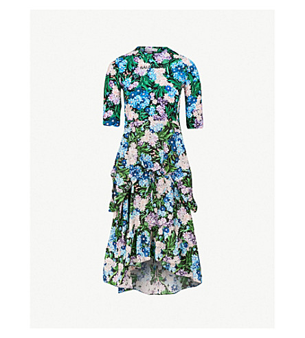 13d7516a0757 BALENCIAGA Floral-print stretch-jersey midi dress (Blue lilac