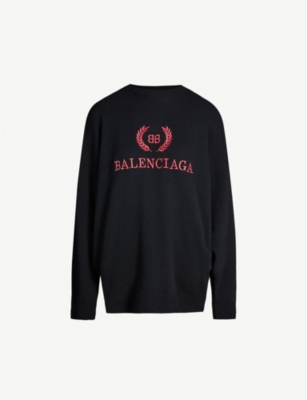 BALENCIAGA Logo-embroidered wool and cashmere-blend jumper
